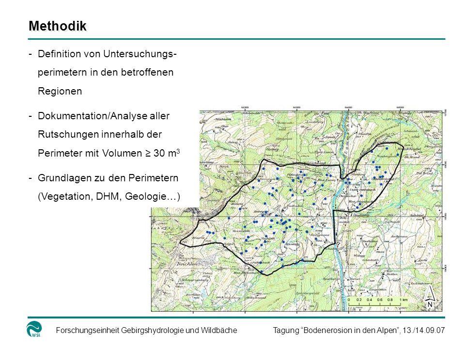 Methodik Definition von Untersuchungs-perimetern in den betroffenen Regionen.