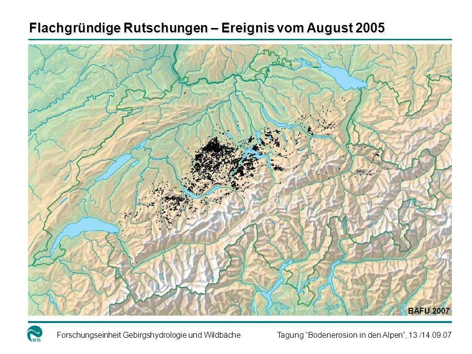 Flachgründige Rutschungen – Ereignis vom August 2005