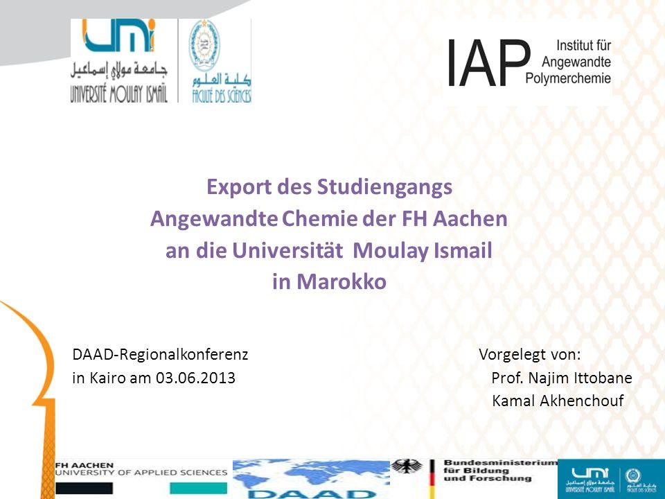 Export des Studiengangs Angewandte Chemie der FH Aachen