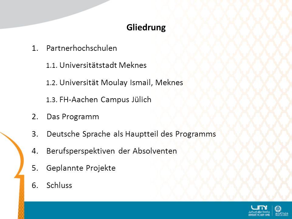 Gliedrung Partnerhochschulen 1.1. Universitätstadt Meknes