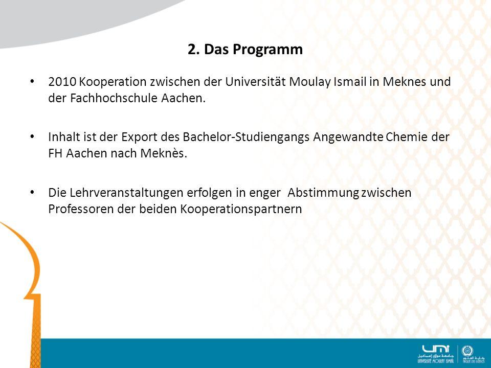 2. Das Programm 2010 Kooperation zwischen der Universität Moulay Ismail in Meknes und der Fachhochschule Aachen.