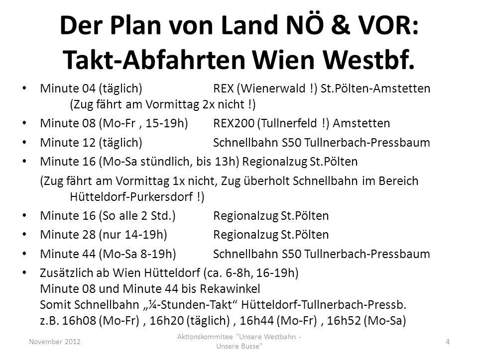 Der Plan von Land NÖ & VOR: Takt-Abfahrten Wien Westbf.