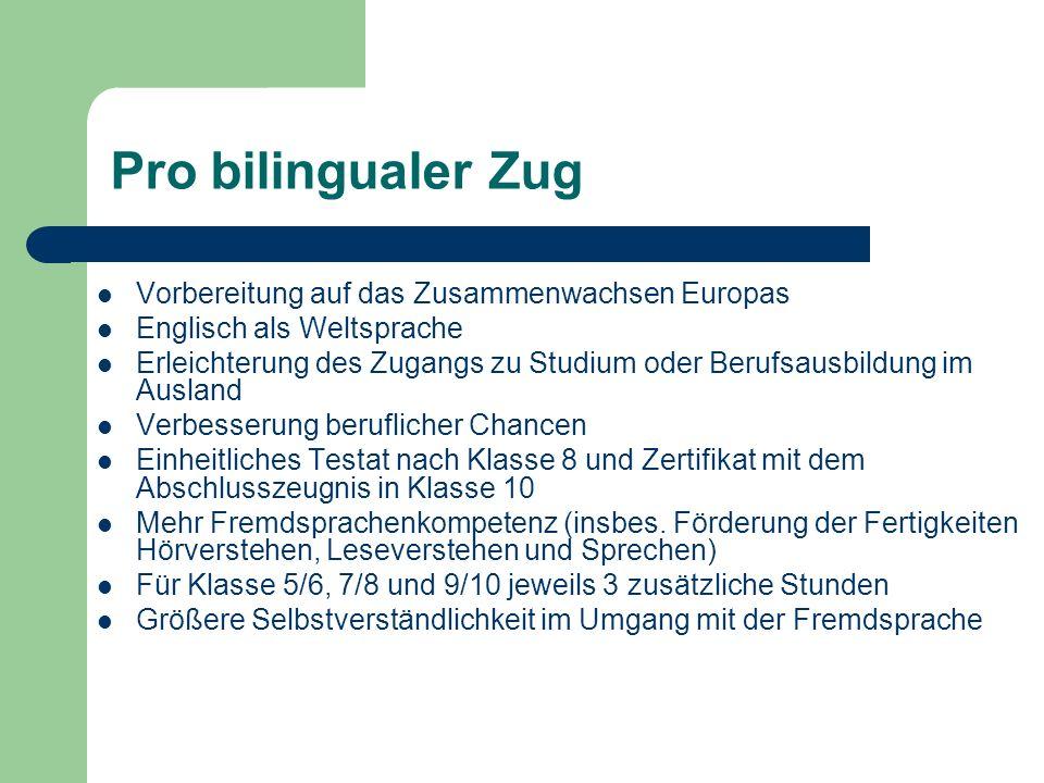 Pro bilingualer Zug Vorbereitung auf das Zusammenwachsen Europas