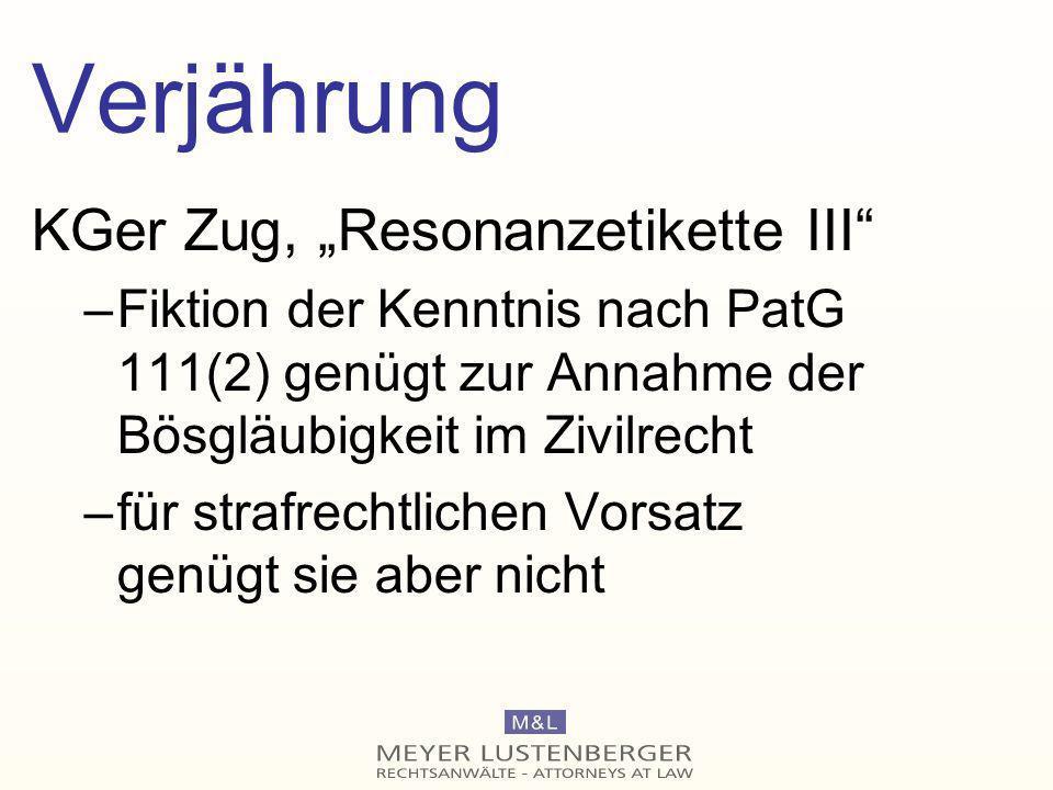 """Verjährung KGer Zug, """"Resonanzetikette III"""