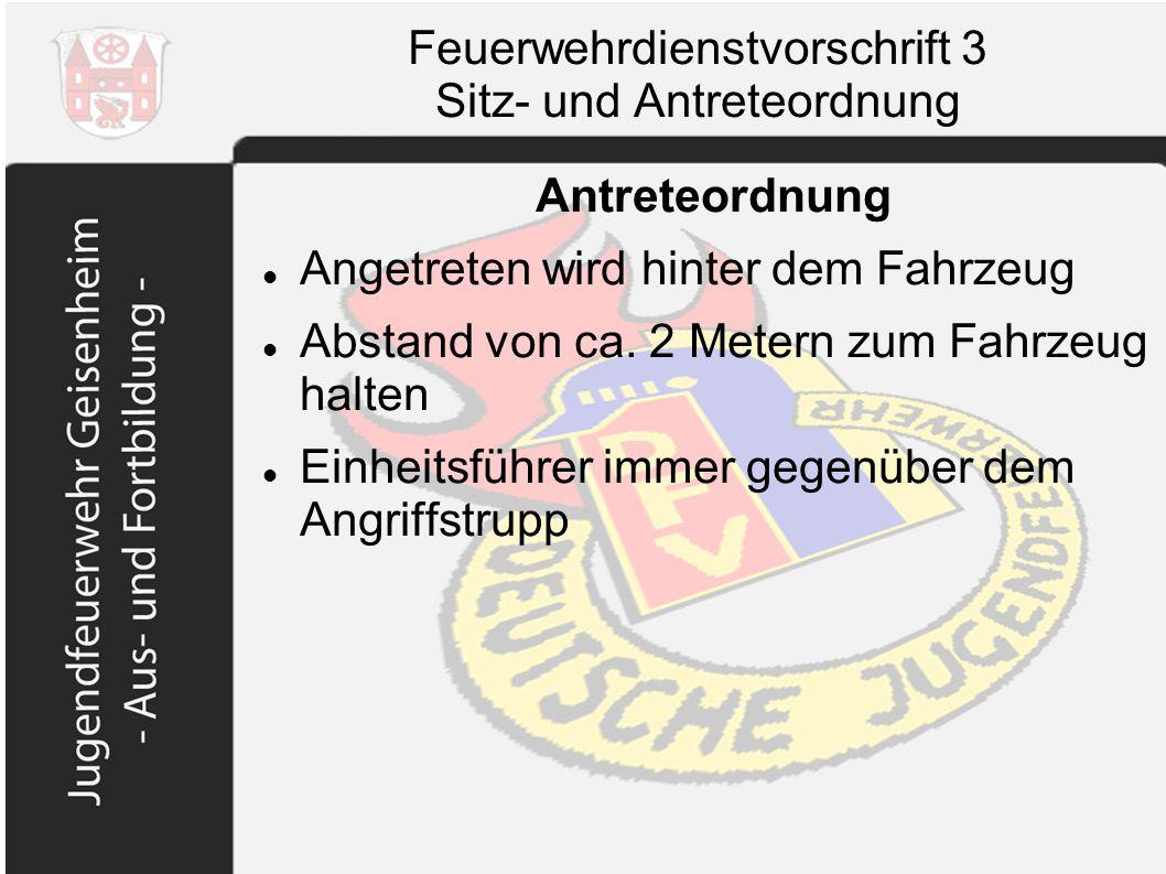 Feuerwehrdienstvorschrift 3 Sitz- und Antreteordnung