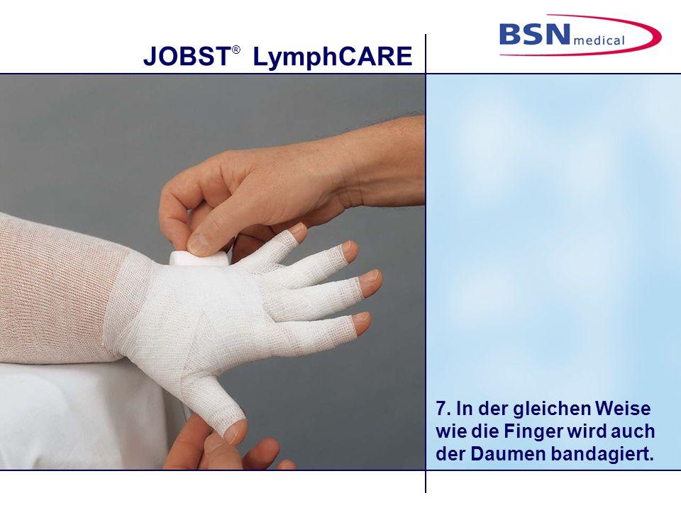 7. In der gleichen Weise wie die Finger wird auch der Daumen bandagiert.