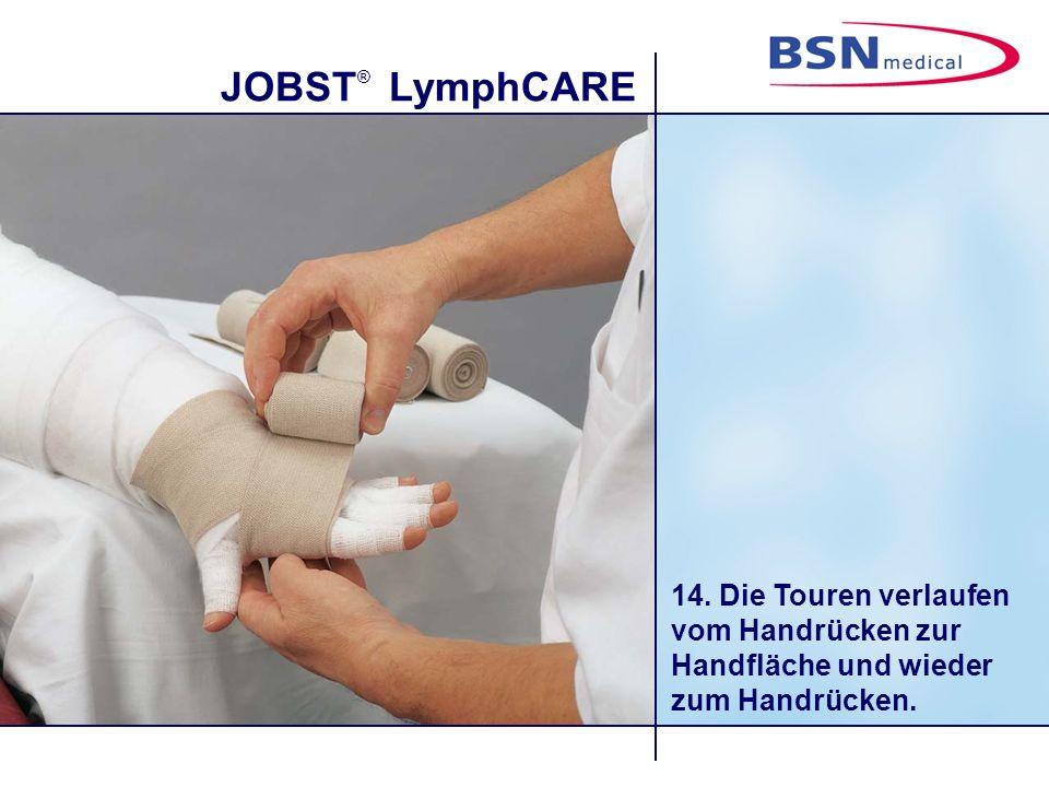14. Die Touren verlaufen vom Handrücken zur Handfläche und wieder zum Handrücken.
