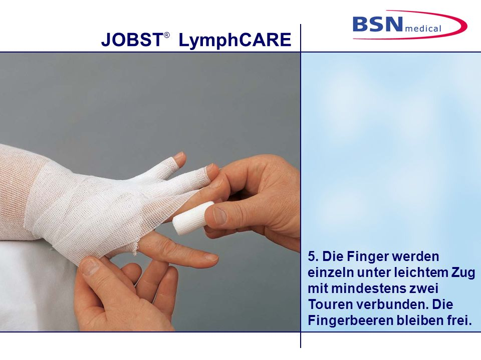 5. Die Finger werden einzeln unter leichtem Zug mit mindestens zwei Touren verbunden.