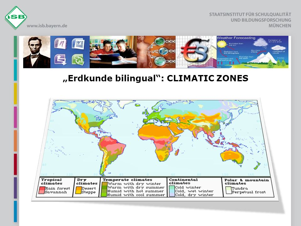 """Erdkunde bilingual : CLIMATIC ZONES"