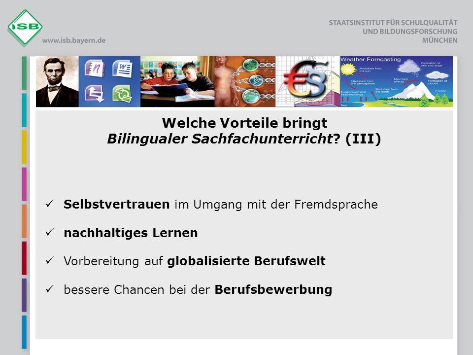 Welche Vorteile bringt Bilingualer Sachfachunterricht (III)