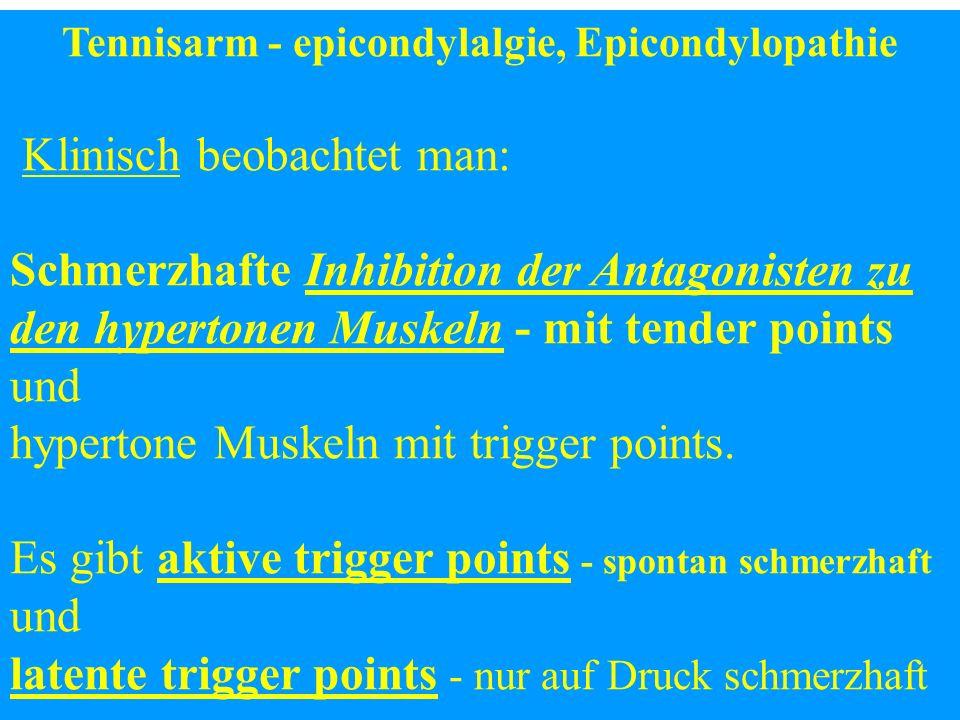 Tennisarm - epicondylalgie, Epicondylopathie