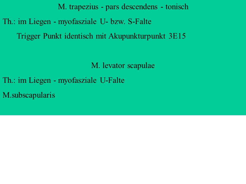 M. trapezius - pars descendens - tonisch