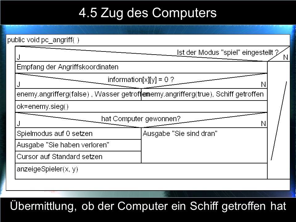Übermittlung, ob der Computer ein Schiff getroffen hat