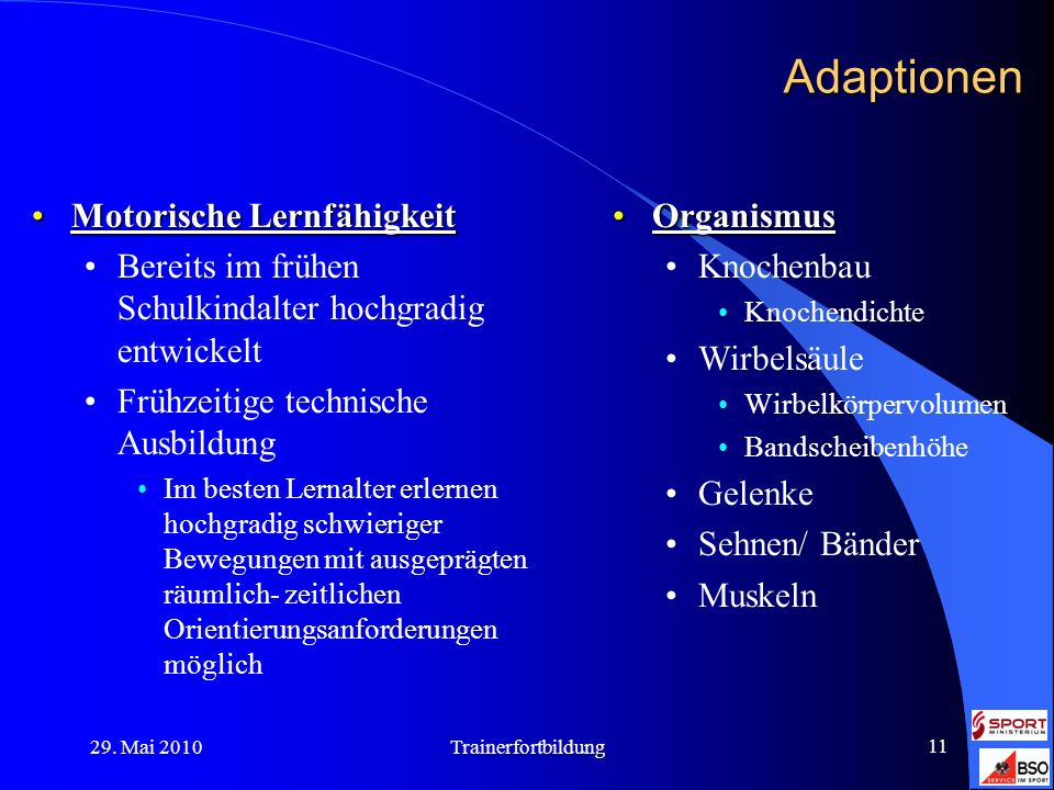 Adaptionen Motorische Lernfähigkeit