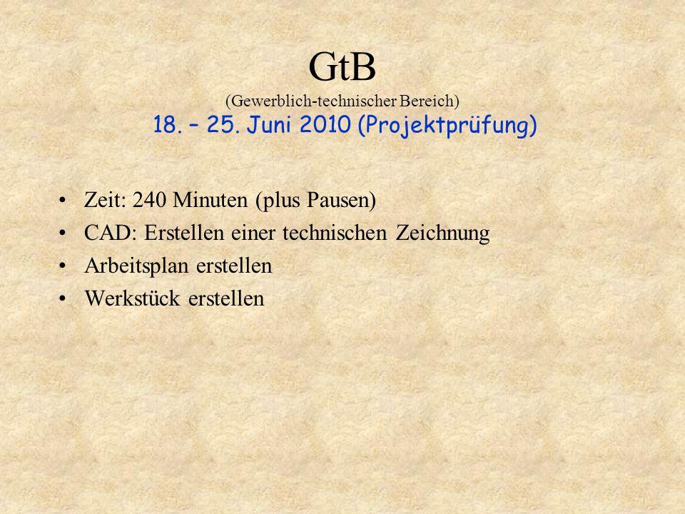 GtB (Gewerblich-technischer Bereich) 18. – 25