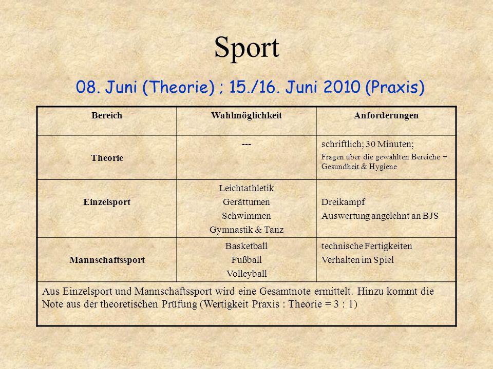 Sport 08. Juni (Theorie) ; 15./16. Juni 2010 (Praxis)