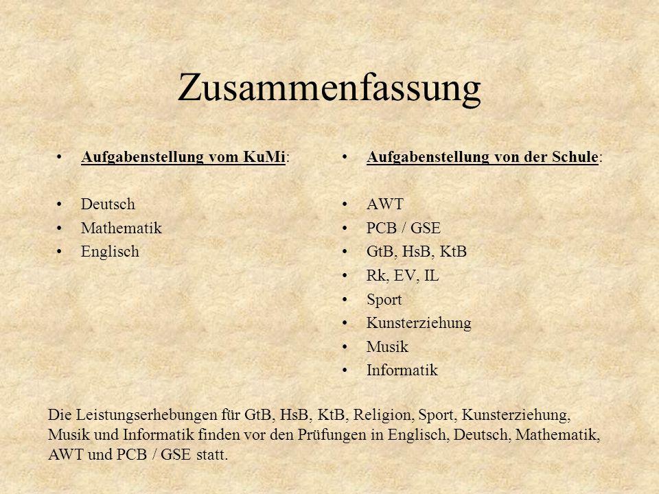 Zusammenfassung Aufgabenstellung vom KuMi: Deutsch Mathematik Englisch