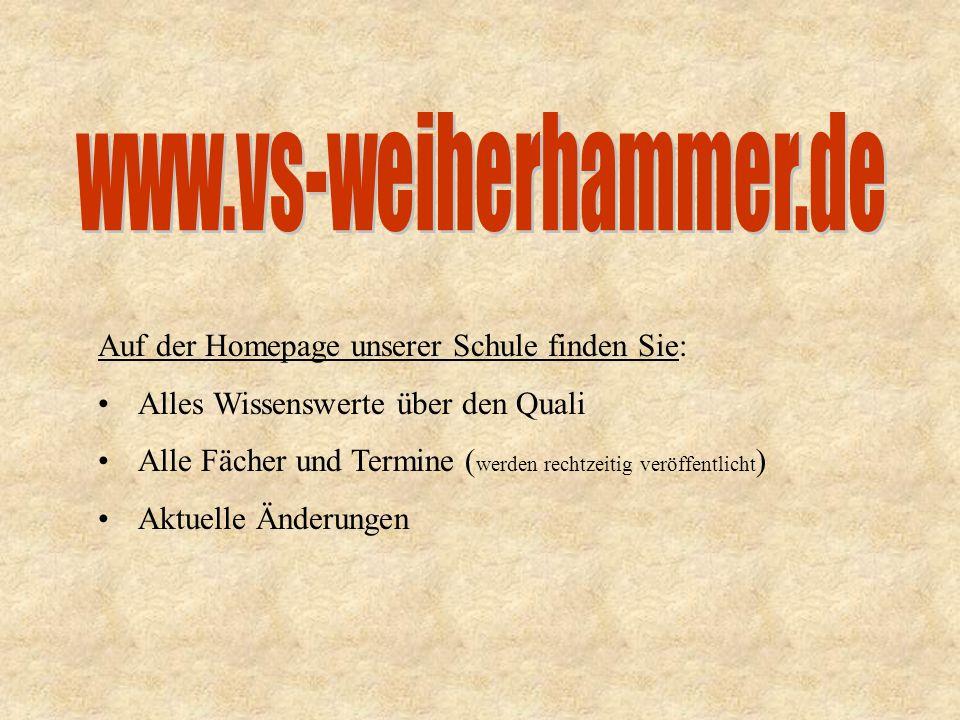 www.vs-weiherhammer.de Auf der Homepage unserer Schule finden Sie: