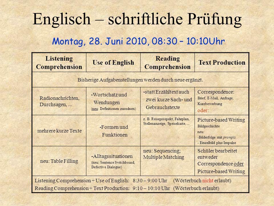 Englisch – schriftliche Prüfung