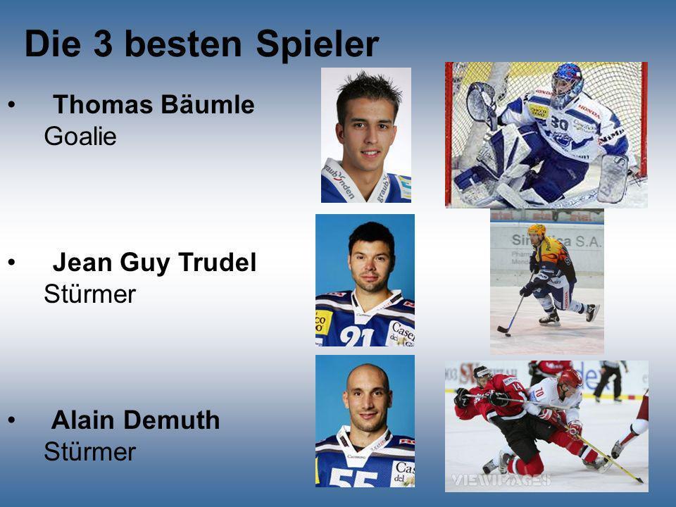Die 3 besten Spieler Thomas Bäumle Goalie Jean Guy Trudel Stürmer