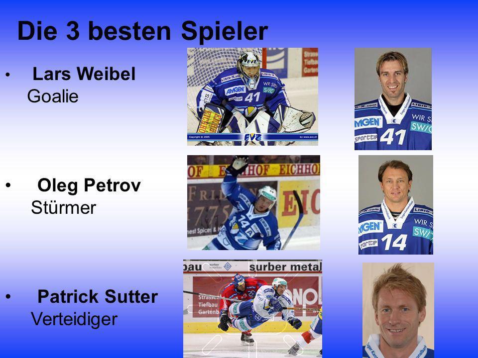 Die 3 besten Spieler Oleg Petrov Stürmer Patrick Sutter Verteidiger