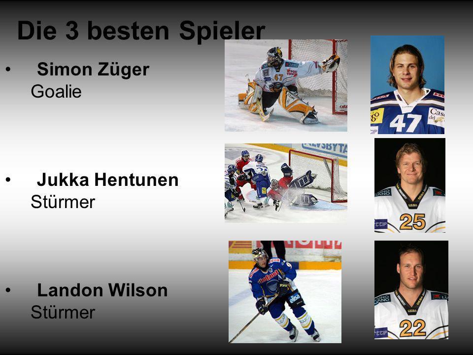 Die 3 besten Spieler Simon Züger Goalie Jukka Hentunen Stürmer