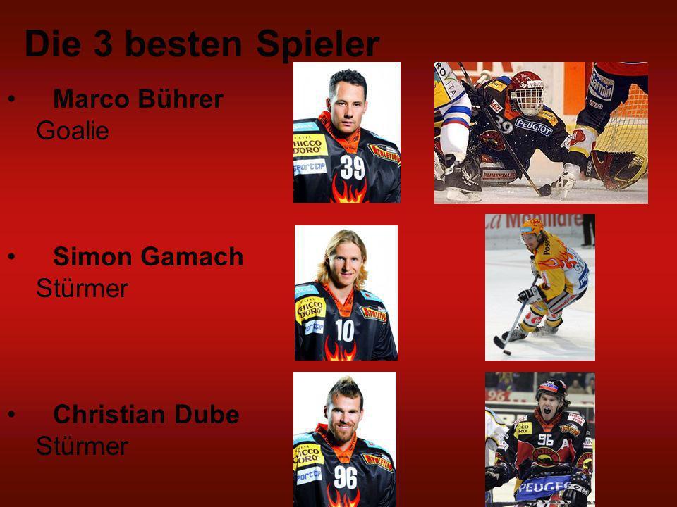 Die 3 besten Spieler Marco Bührer Goalie Simon Gamach Stürmer