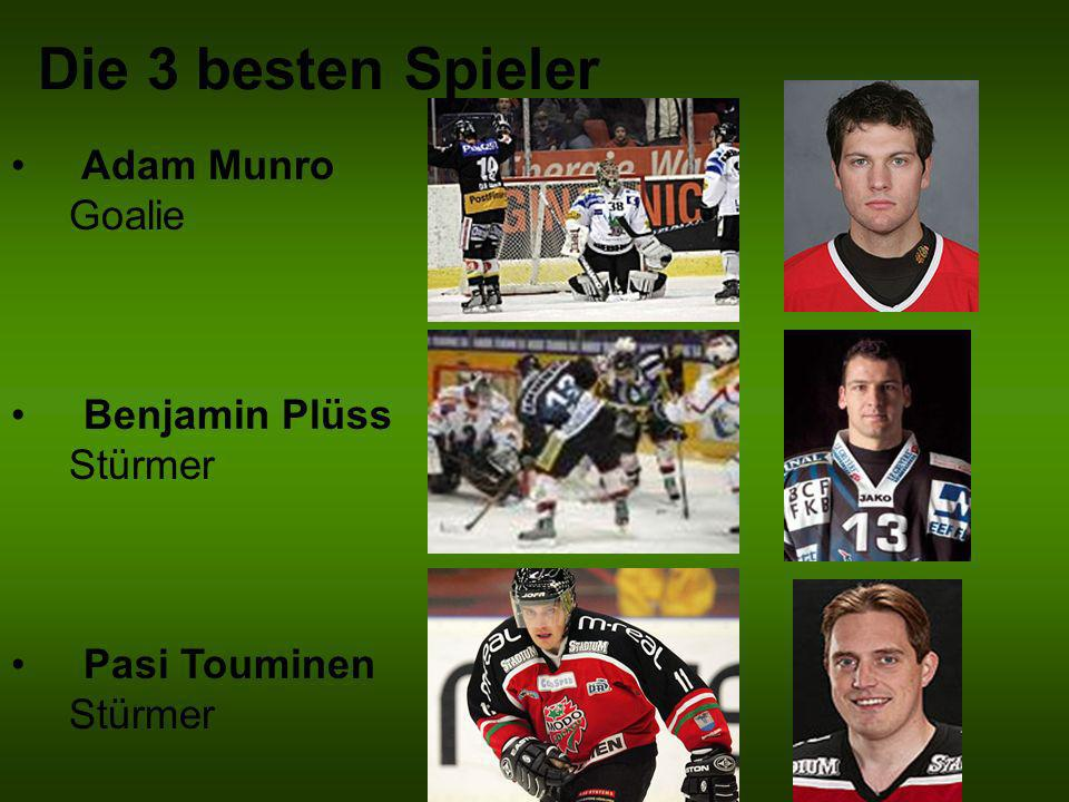 Die 3 besten Spieler Adam Munro Goalie Benjamin Plüss Stürmer
