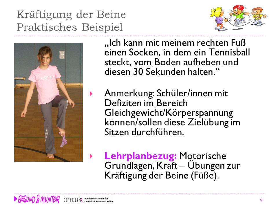 Kräftigung der Beine Praktisches Beispiel