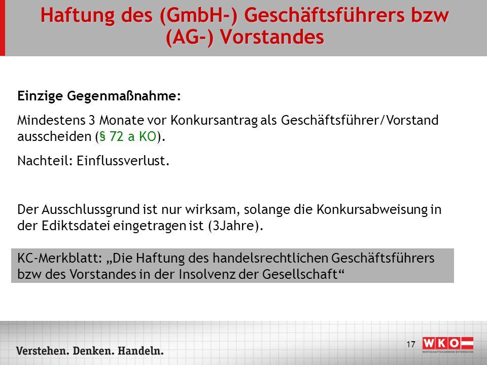 Haftung des (GmbH-) Geschäftsführers bzw (AG-) Vorstandes