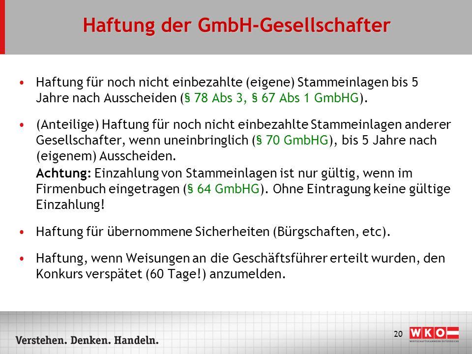 Haftung der GmbH-Gesellschafter