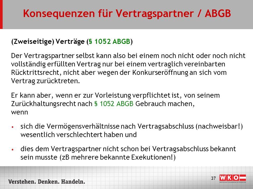 Konsequenzen für Vertragspartner / ABGB