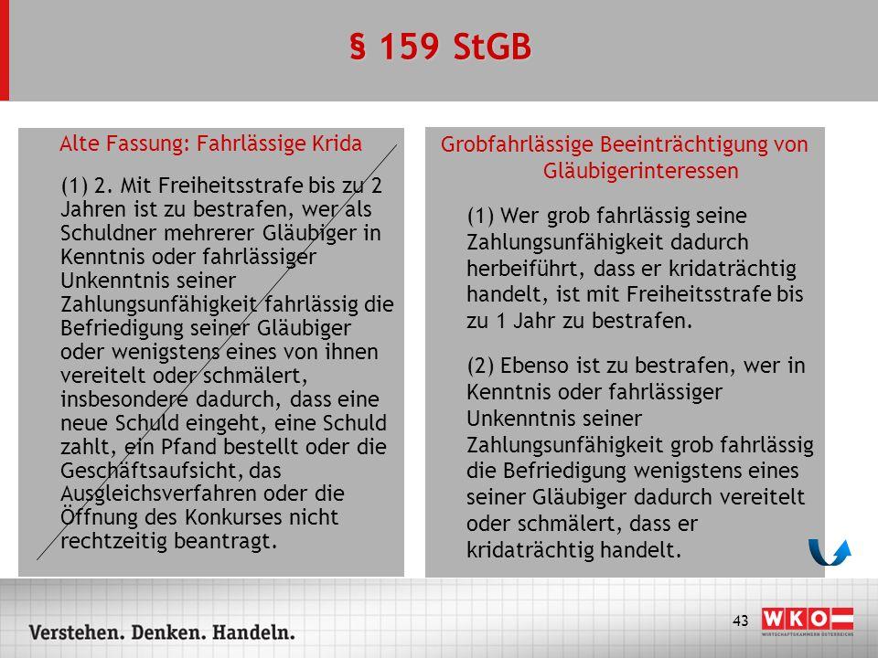 § 159 StGB Alte Fassung: Fahrlässige Krida