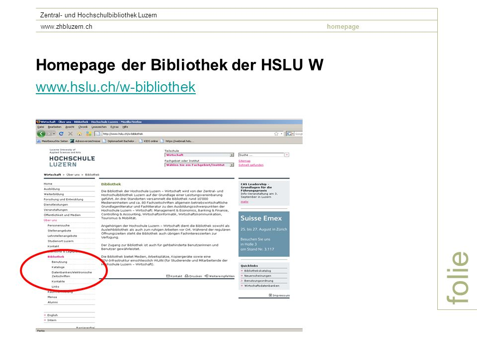 folie Homepage der Bibliothek der HSLU W www.hslu.ch/w-bibliothek