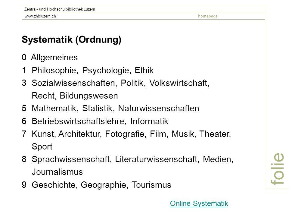 folie Systematik (Ordnung) 0 Allgemeines