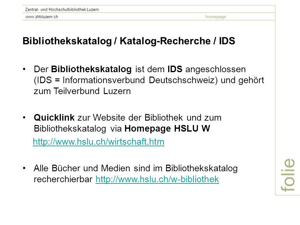 folie Bibliothekskatalog / Katalog-Recherche / IDS
