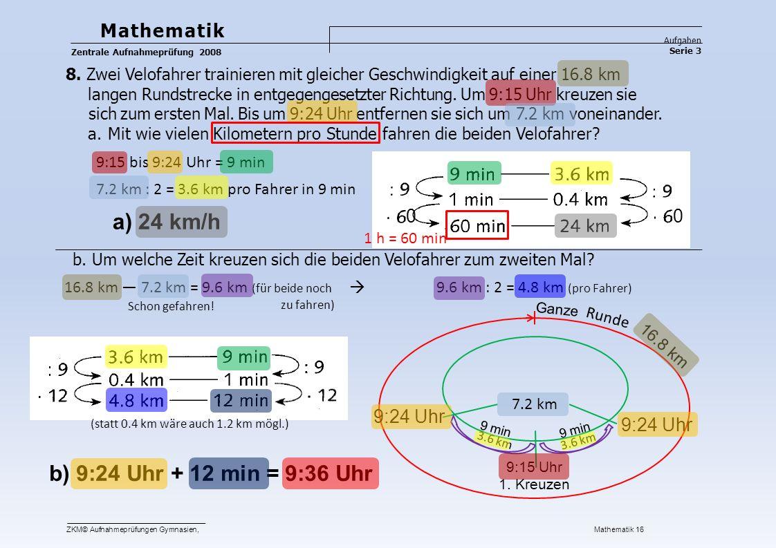 a) 24 km/h b) 9:24 Uhr + 12 min = 9:36 Uhr Mathematik 9:24 Uhr