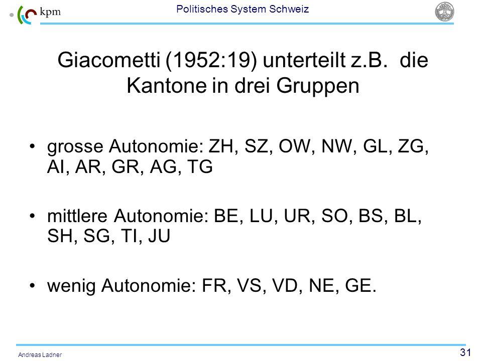 Giacometti (1952:19) unterteilt z.B. die Kantone in drei Gruppen