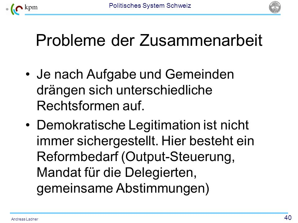 Probleme der Zusammenarbeit