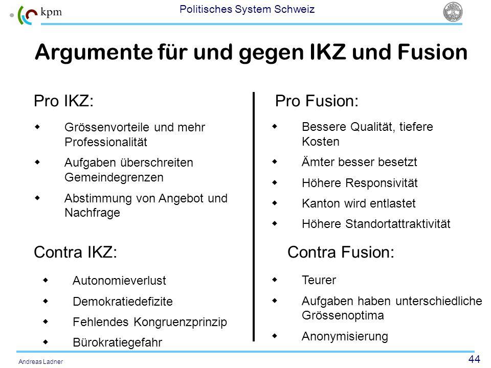 Argumente für und gegen IKZ und Fusion