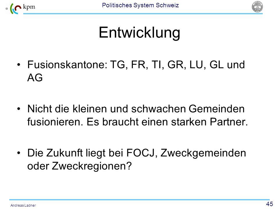 Entwicklung Fusionskantone: TG, FR, TI, GR, LU, GL und AG