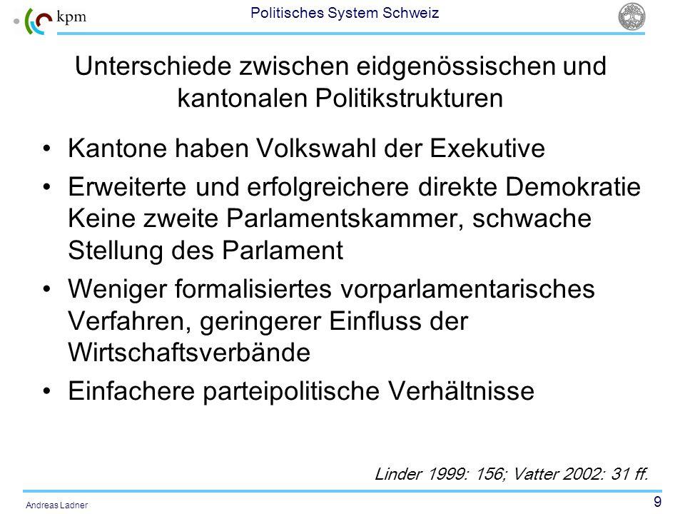Unterschiede zwischen eidgenössischen und kantonalen Politikstrukturen