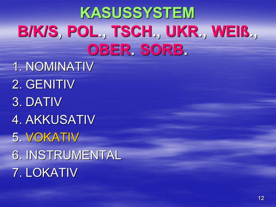 KASUSSYSTEM B/K/S, POL., TSCH., UKR., WEIß., OBER. SORB.