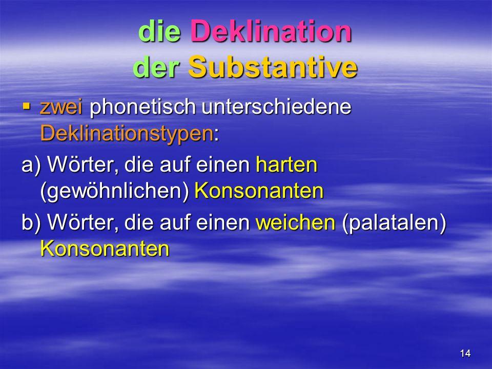 die Deklination der Substantive