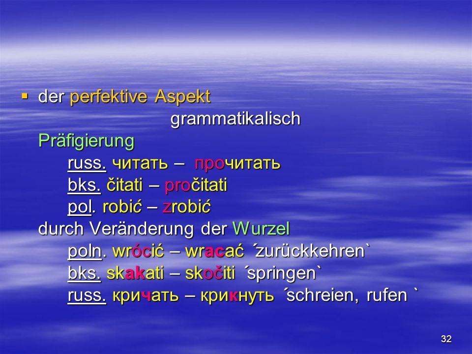 der perfektive Aspekt grammatikalisch. Präfigierung. russ. читать – прочитать. bks. čitati – pročitati.