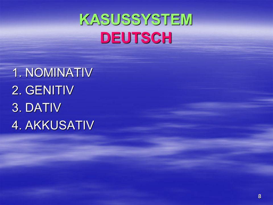 KASUSSYSTEM DEUTSCH 1. NOMINATIV 2. GENITIV 3. DATIV 4. AKKUSATIV