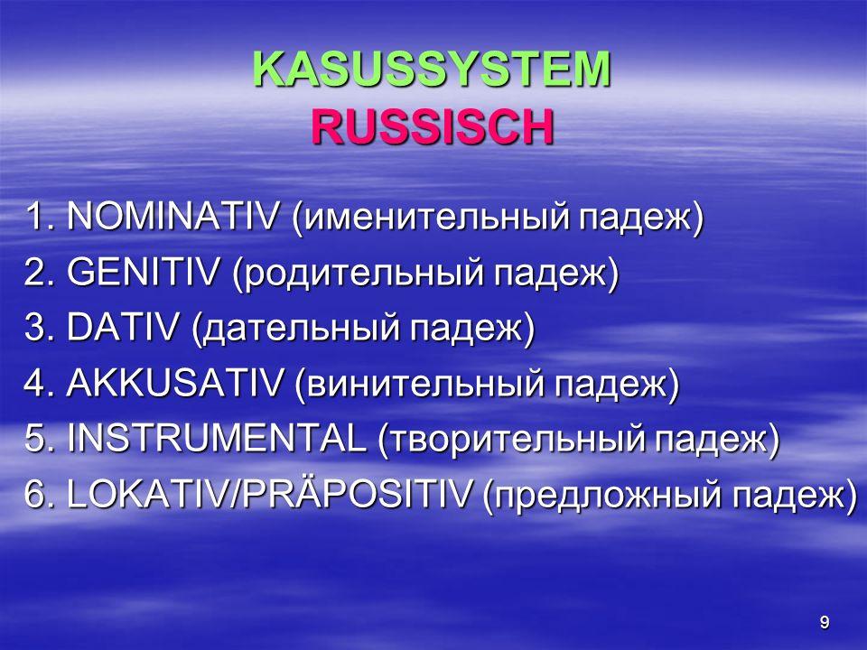 KASUSSYSTEM RUSSISCH 1. NOMINATIV (именительный падеж)