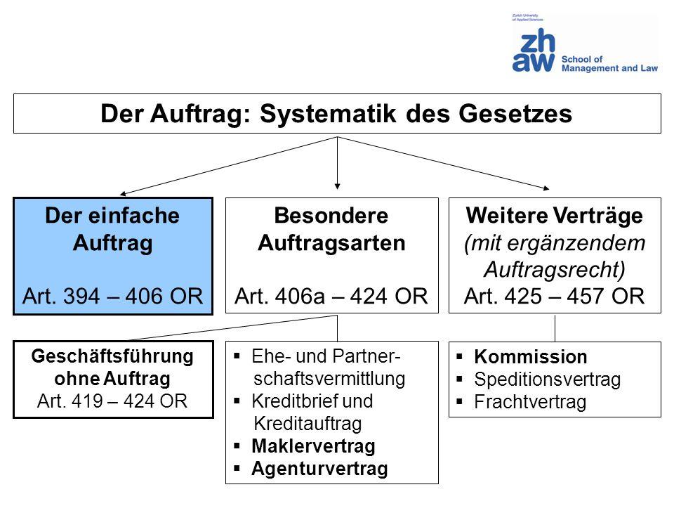 Der Auftrag: Systematik des Gesetzes