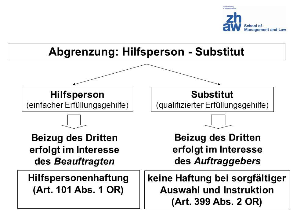 Abgrenzung: Hilfsperson - Substitut
