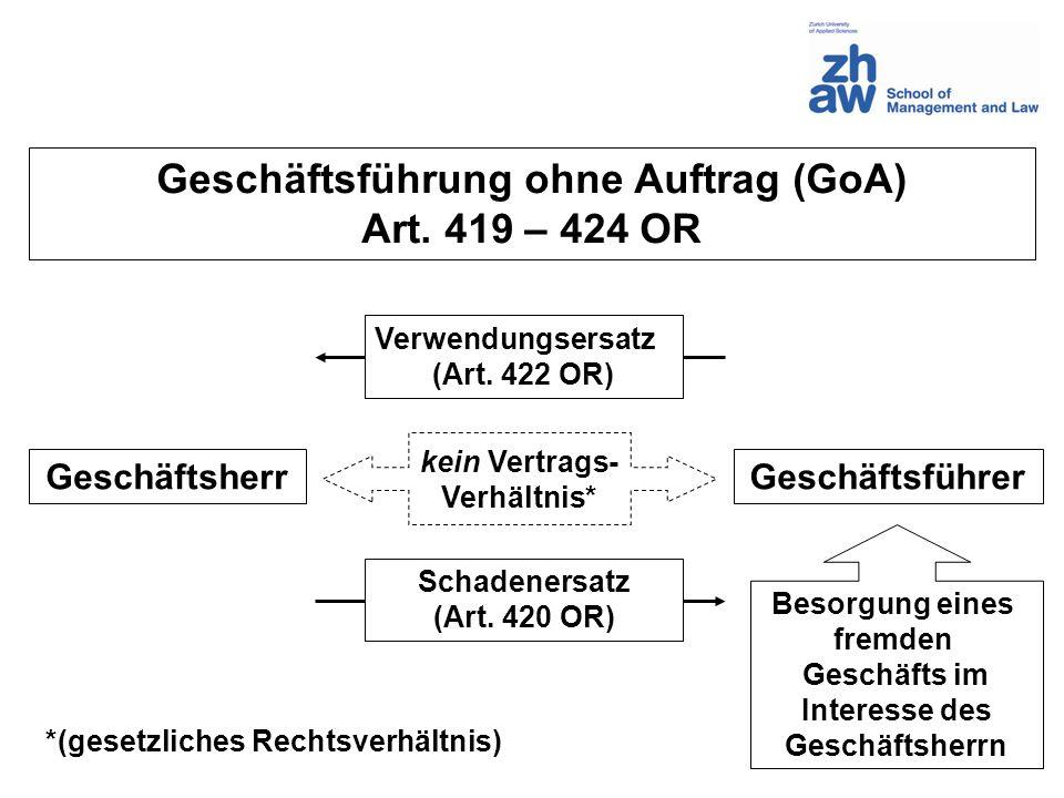 Geschäftsführung ohne Auftrag (GoA)
